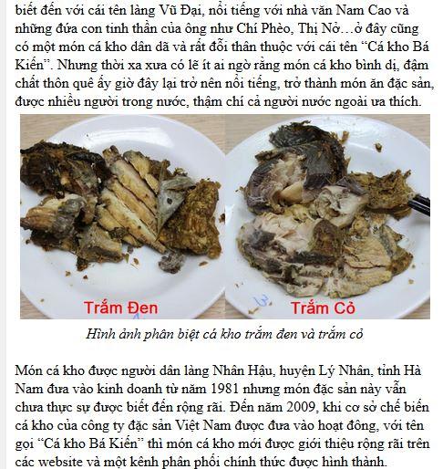 Cá kho làng Vũ Đại trên báo dân trí
